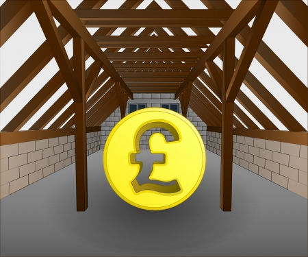 rafter: attic under construction with pound coin vector illustration