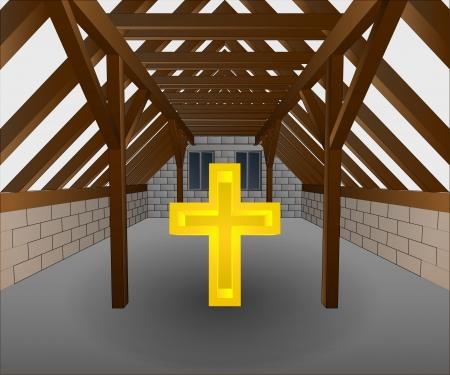 attic: attic under construction with cross vector illustration Illustration
