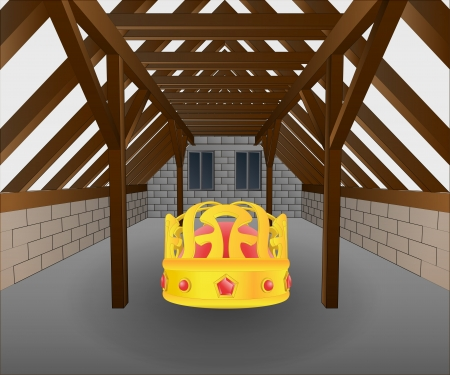 rafter: attic under construction with lost crown vector illustration