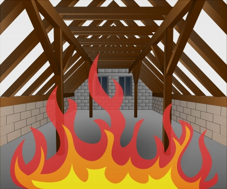rafter: attic under construction in fire flames illustration Illustration