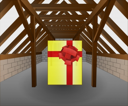 attic under construction with gift illustration Vector