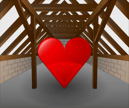rafter: attic under construction with heart icon illustration