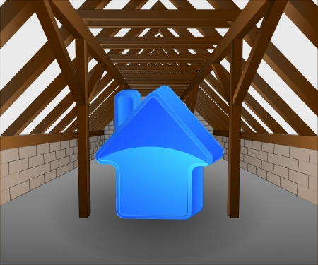 rafter: attic under construction with house icon illustration
