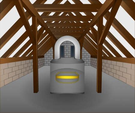 roofing system: attic under construction with security padlock illustration Illustration