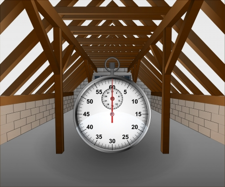 rafter: attic under construction with stopwatch illustration