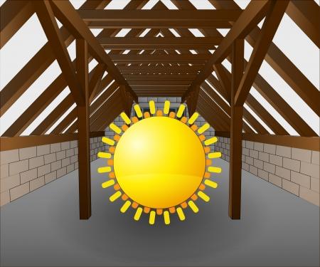 rafter: attic under construction with shiny sun illustration Illustration