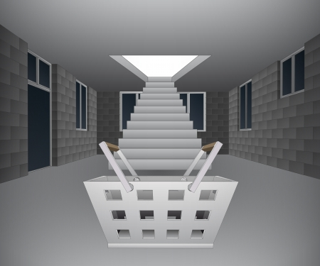 concrete stairs: house interior with basket downstairs illustration