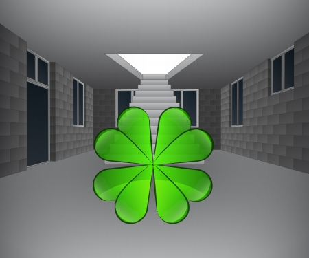 house interior with cloverleaf downstairs illustration Illustration