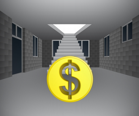 concrete stairs: house interior with dollar coin downstairs illustration