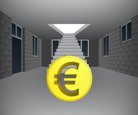 concrete stairs: house interior with euro coin downstairs illustration Illustration