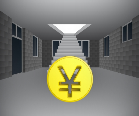 property of china: house interior with yuan coin downstairs illustration
