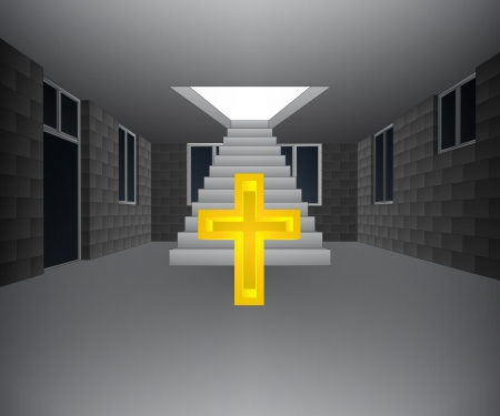 godness: house interior with cross in front of staircase illustration Illustration