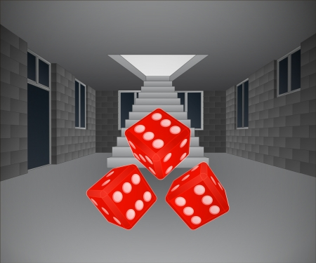 concrete stairs: house interior with rolling dice downstairs illustration