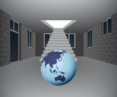 concrete stairs: interior with asia globe in front of staircase illustration