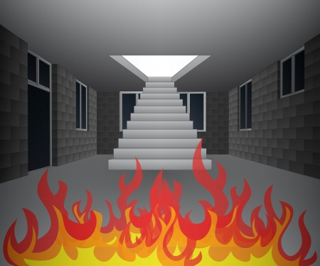 house interior in fire flames illustration Stock Vector - 21659670