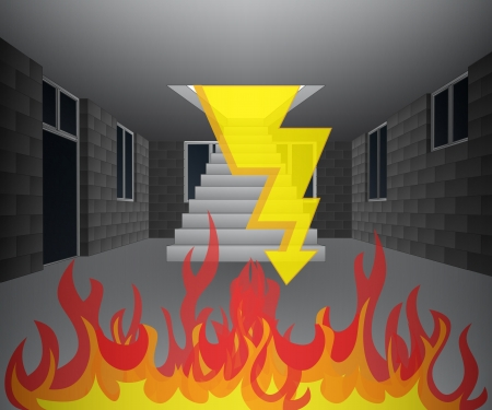 house interior in fire with lightning illustration Vector