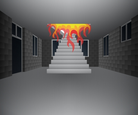 concrete stairs: house interior with fire from upstairs illustration
