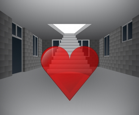 concrete stairs: house interior with heart icon in front of staircase illustration Illustration