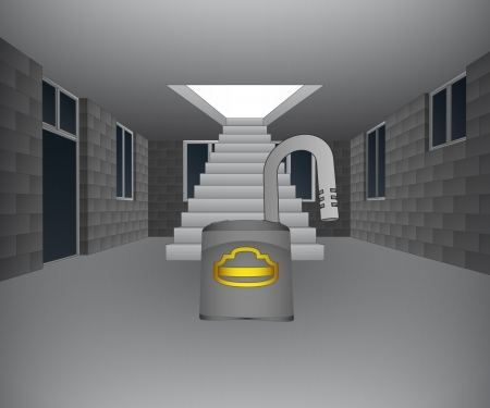 concrete stairs: house interior with opened padlock in front of staircase