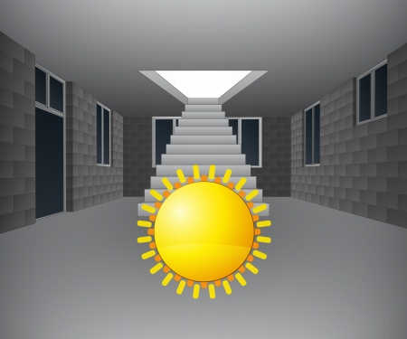 concrete stairs: house interior with sun in front of staircase