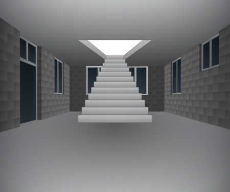 concrete stairs: house interior under construction with stairway Illustration