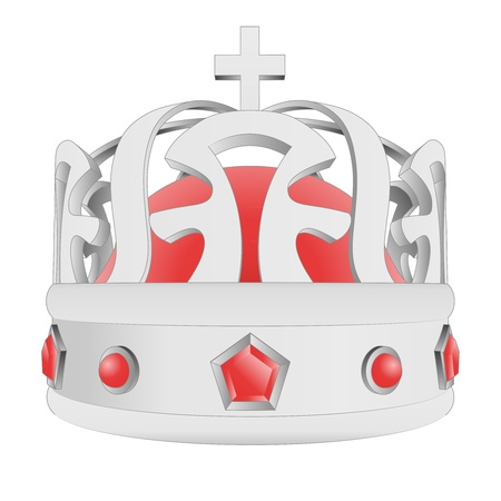 kingdom of god: silver crown with red gems with cross illustration