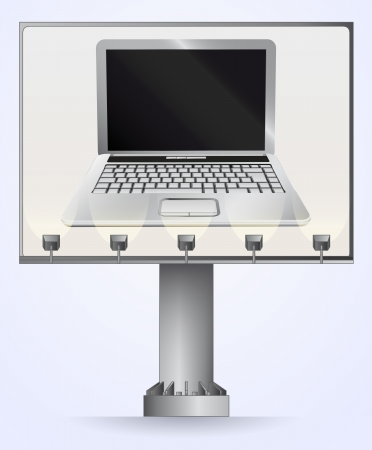 laptop outside: billboard advertisement for internet communication  Illustration