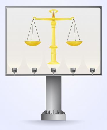 bilboard advertisement for liberty justice vector illustration Stock Vector - 21659726