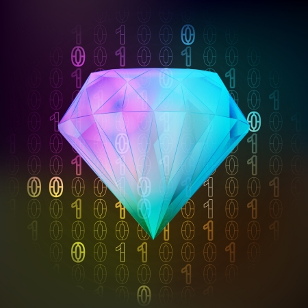 diamond value in binary internet modern space  Vector
