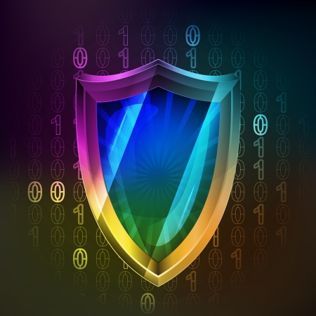 protected: anti virus protecting in binary internet space  Illustration