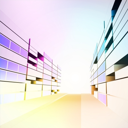 colorful modern city street project development  Vector