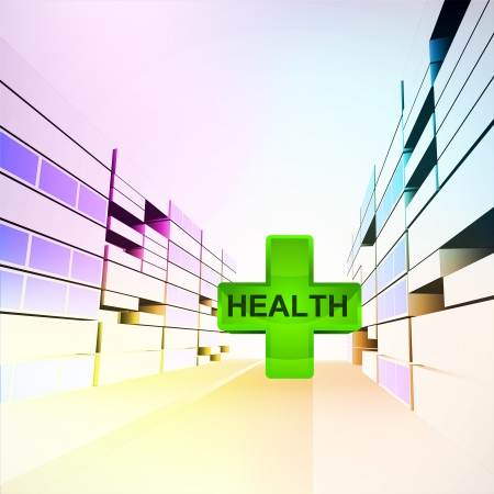 health care in colorful city street