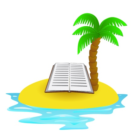 lonely tropical island with summer book concept Stock Vector - 21659789