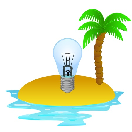 lonely tropical island with summer idea concept Vector