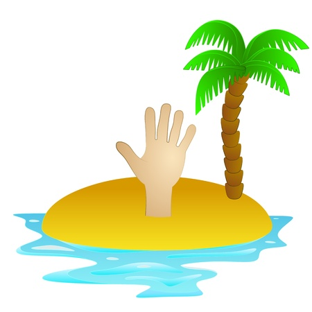 lonely tropical island with hand to help concept  Vector