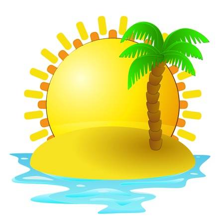 lonely tropical island with sunrise  Vector