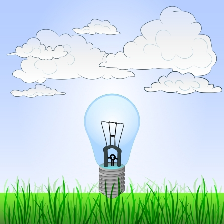 grassy landscape with invention ideas and sky Vector