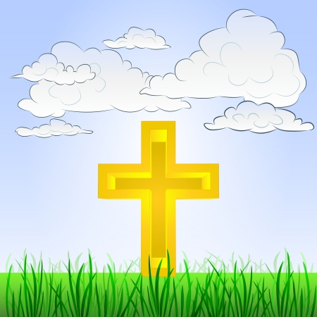 godness: grassy landscape with religion symbol and sky
