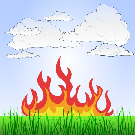 grassy landscape with summer fire and sky  Illustration