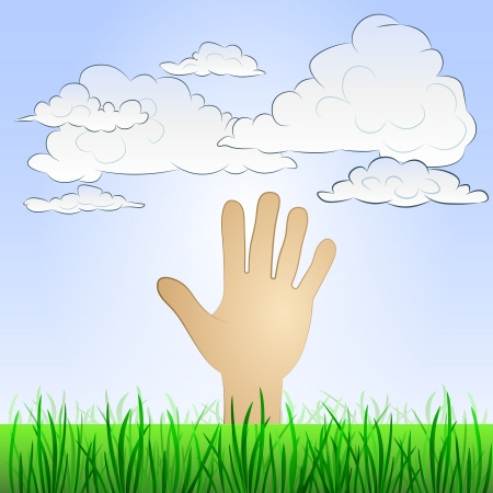 grassy: grassy landscape with human hand and sky