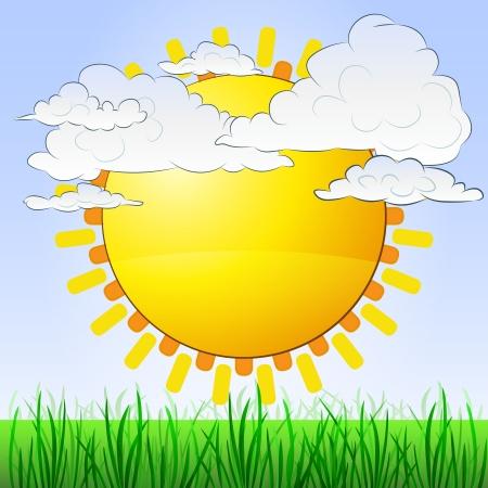 태양과 흐린 하늘 잔디 풍경