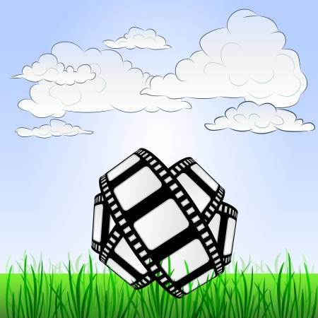 grassy landscape with movie tape and sky  Vector