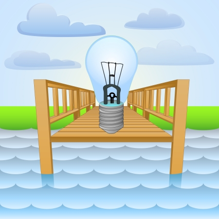 wharf: river pier with invention ideas relaxing