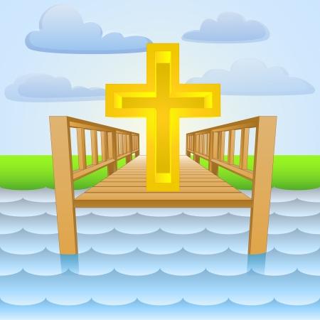river pier as christian religion worship place  Vector