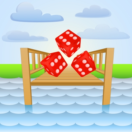 rolling landscape: river pier with lucky rolling dice  Illustration