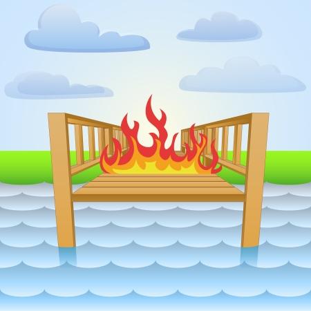 river pier in open fire flames  Vector