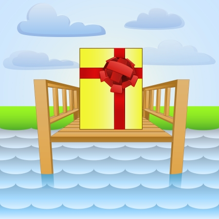 wharf: river pier with summer gift surprise Illustration