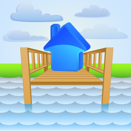 land development: river pier with summer house holiday  Illustration