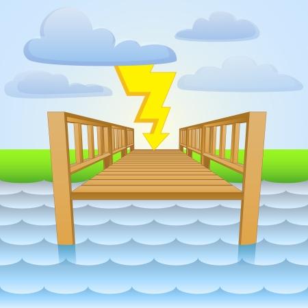 river pier with summer storm scene  Vector