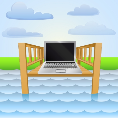 wharf: river pier with notebook web surfing relax
